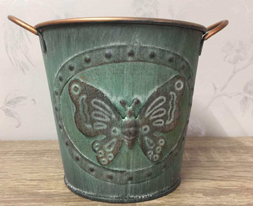 Vintage Butterfly Tin Planter 15 cm GREEN